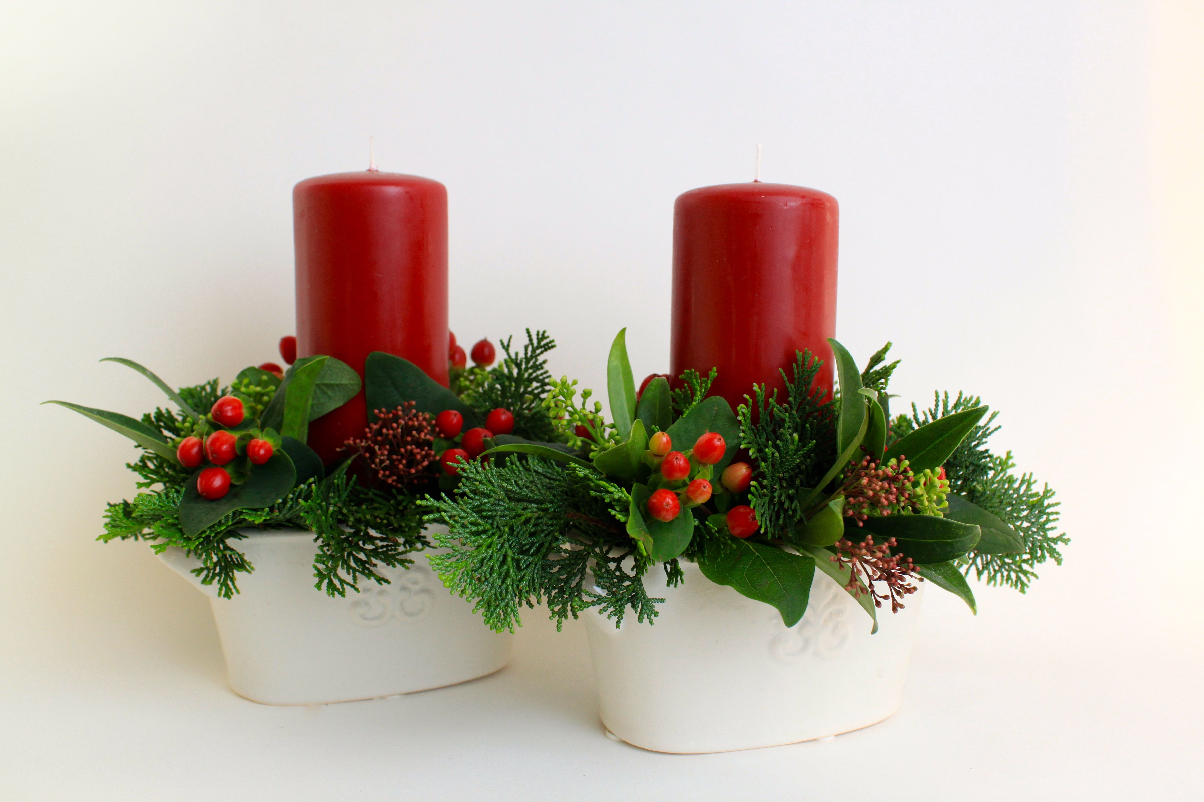 Set of 2 candle table centres