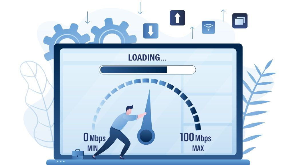 Blue illustration of man on laptop screen pushing meter of page load screen.