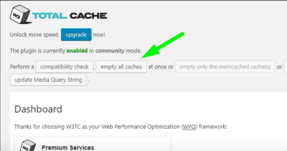 Clearing Cache - W3 Total Cache