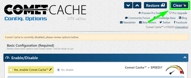 Clearing Cache - Comet Cache