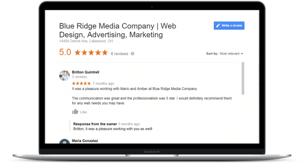 BRMC rating and reviews by the clients on website