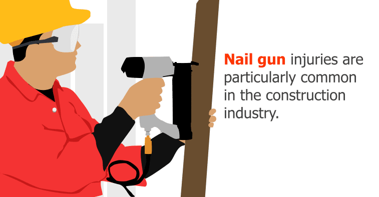 Nail gun injuries are particularly common in the construction industry.