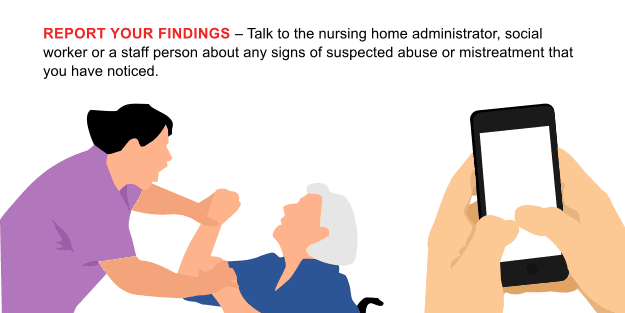 Report your findings – Talk to the nursing home administrator, social worker or a staff person about any signs of suspected abuse or mistreatment that you have noticed.