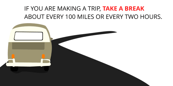 If you are making a trip, take a break about every 100 miles or every two hours.