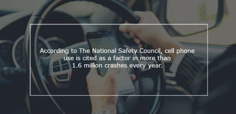 According to The National Safety Council, cell phone use is cited as a factor in more than 1.6 million crashes every year.
