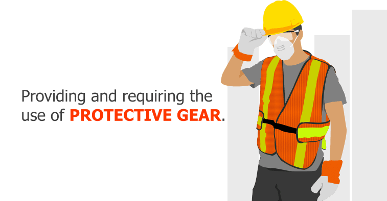 Providing and requiring the use of protective gear.