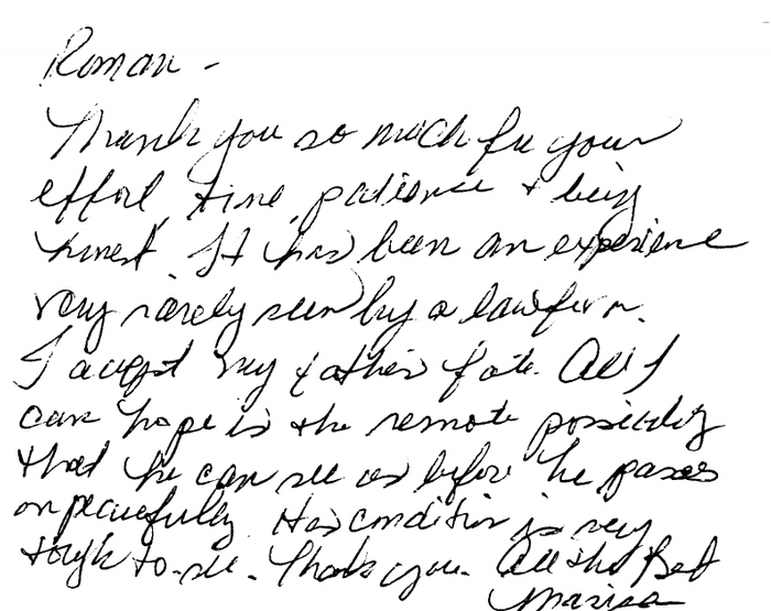 A hand written thank you note from a New Jersey personal injury victim represented by Davis, Saperstein & Salomon, P.C.