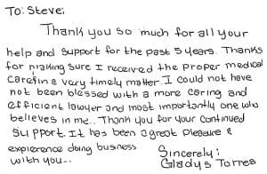 thank you from gladys torres