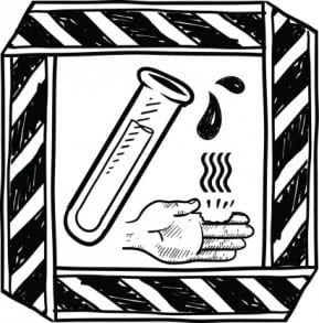 A workplace warning sign required to help prevent a New Jersey chemical burn accident