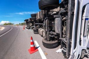 truck turned over in New York interstate truck accident