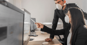office workers with mask