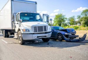 Aftermath of a truck accident on the road