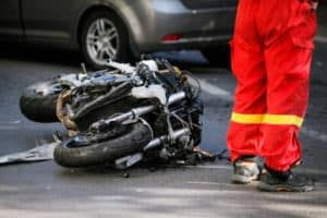 damaged motorcycle after an accident