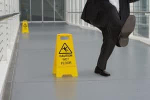 man falling on a slippery floor
