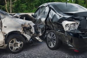 Two totaled cars after a t-bone crash