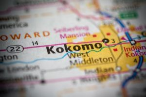 Kokomo, IN on a US map