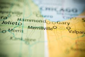 Merrillville, IN on a map