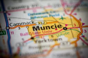 Muncie Indiana on a map