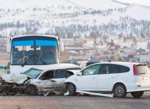 Bus collision with multiple cars