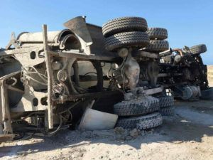 concrete truck rollover after accident