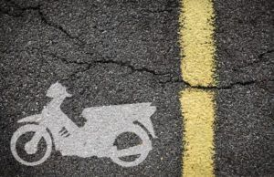 representation of motorcycle lane on the pavement