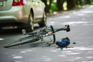 Bicycle on the ground after an accident