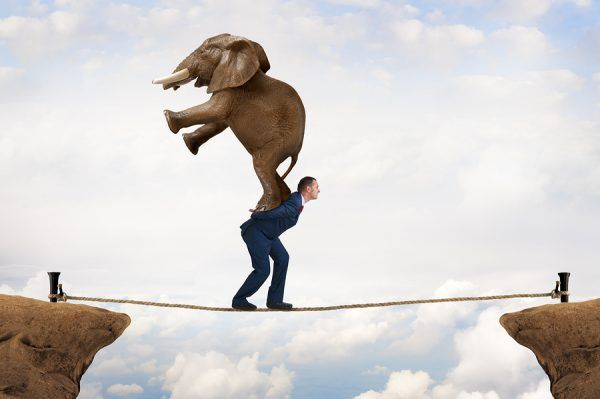 man carrying an elephant trying to cross the cliff on a rope