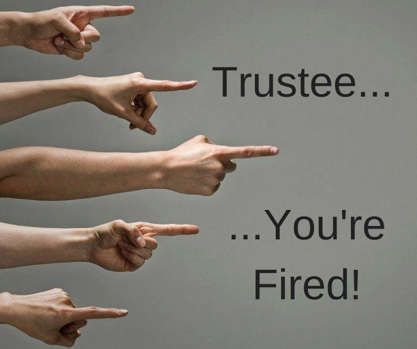 fingers pointing to a Trustee: You're Fired!