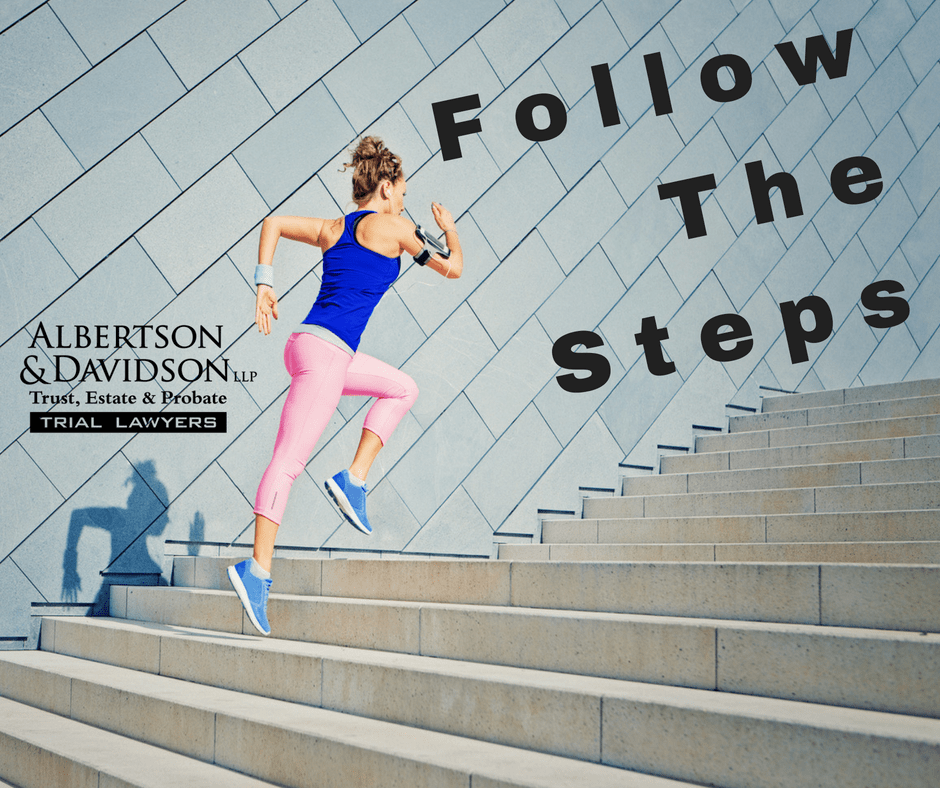 Follow the steps, woman running up steps
