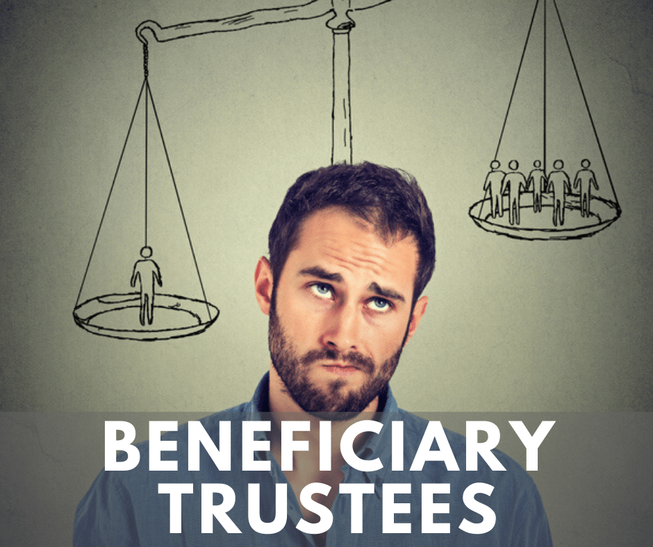 A poster of a man with weighing scale at the back representing beneficiary and trustess