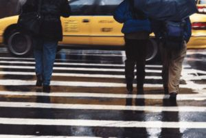 People on new york pedestrian crosswalk