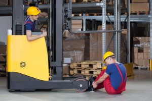warehouse worker injured in a forklift accident
