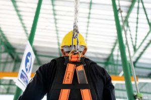 construction worker with fall protection equipment