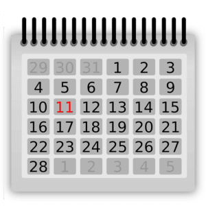 Monthly calendar with the 11th highlighted