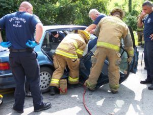 Fire and rescue at scene of accident