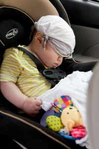 Infant sleeping in car seat