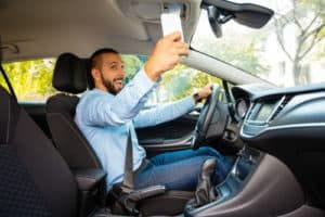 Driver distracted by his cellphone
