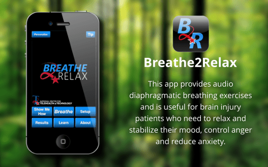 This app provides audio diaphragmatic breathing exercises and is useful for brain injury patients who need to relax and stabilize their mood, control anger and reduce anxiety.