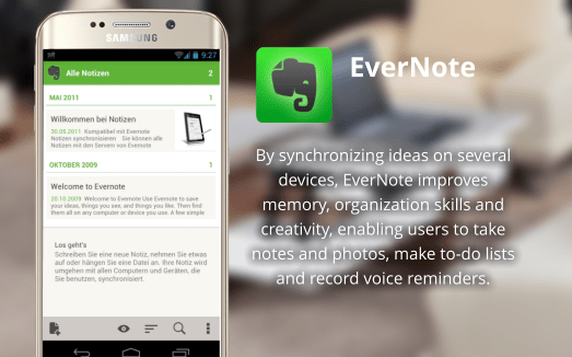 EverNote improves memory, organization skills and creativity, enabling users to take notes and photos, make to-do lists and record voice reminders.