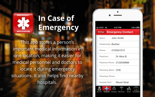This app stores a person's important medical information in one location, making it easier for medical personnel and doctors to locate it during emergency situations.