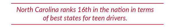 North Carolina ranks 16th in the nation in terms of best states for teen drivers.