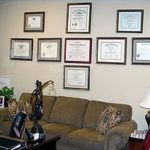 Our Shelby, North Carolina office placques and certification wall.