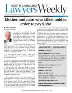 Wrongful Death Verdict for Teddy, Meekins & Talbert, P.L.L.C.