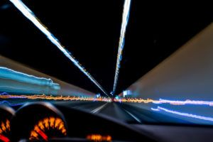 blurry lights from dashboard of drunk driver