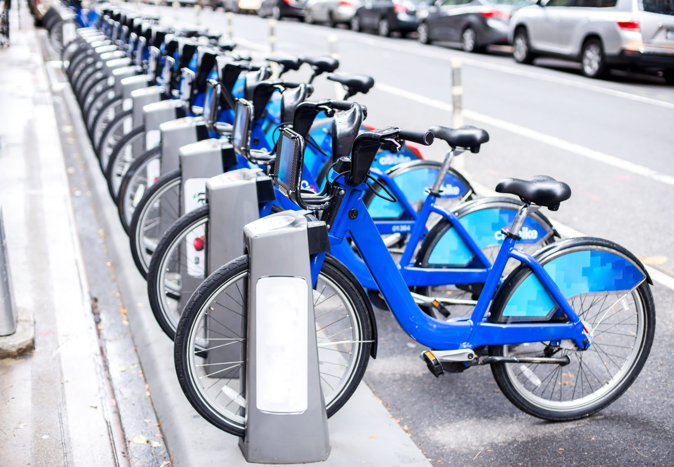 Bike share app bikes lined up in a row