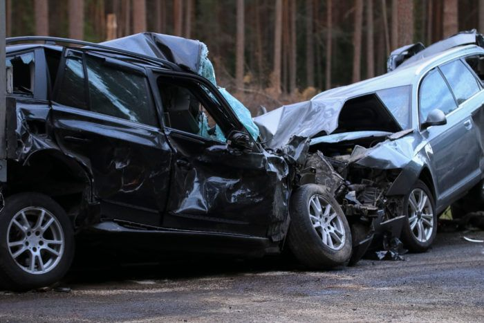 two cars after a car accident