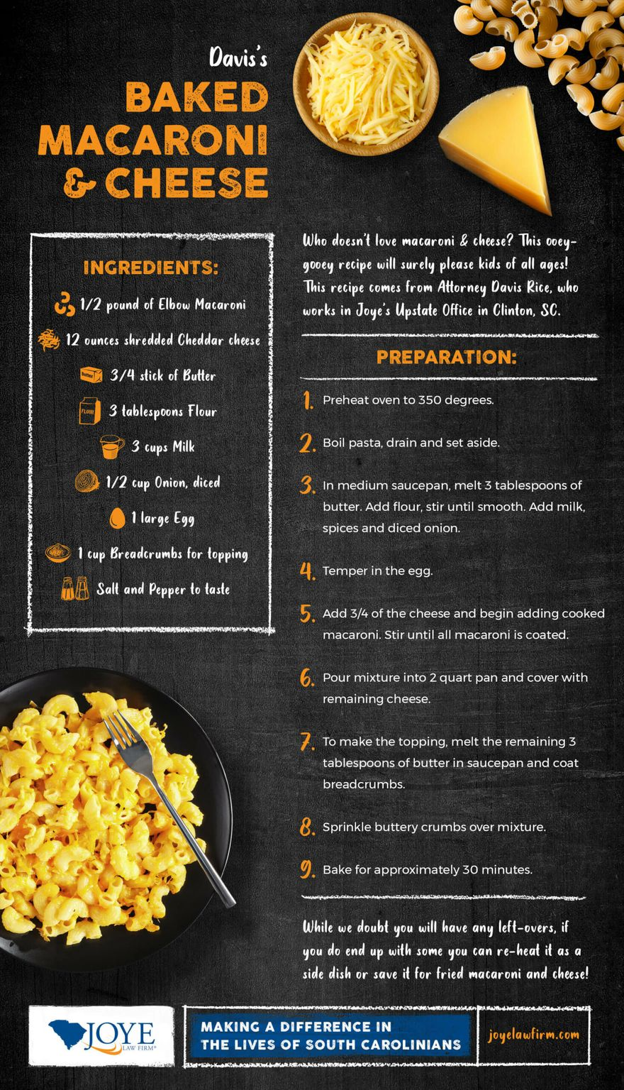 homemade baked mac and cheese step by step recipe infographic