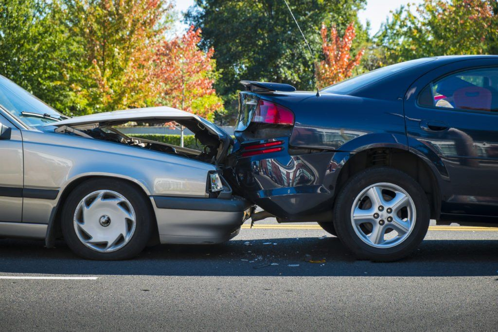 Two cars collide in a car accident