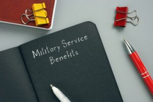 Legal concept about Military Service Benefits with inscription on the piece of paper.