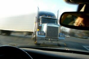 Semi-Truck losing control before a truck accident